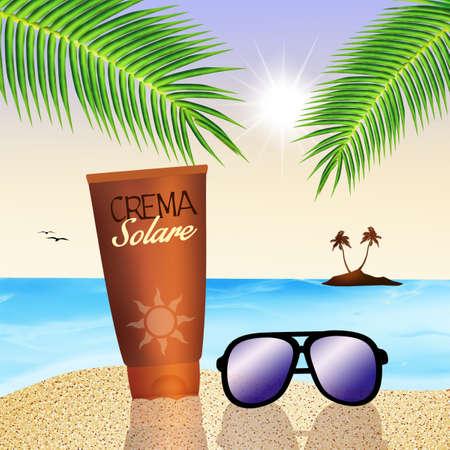 sun cream: sun cream on the beach