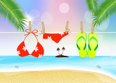 objects: beach objects in summer