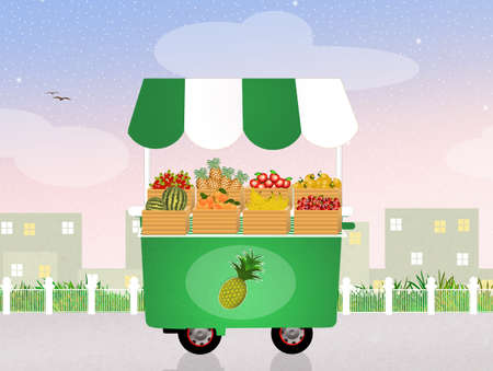 vendors: fruit shop Stock Photo