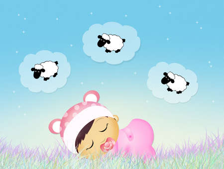 sheeps: baby counting sheeps in the night Stock Photo