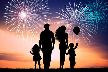 outdoor event: family silhouette at sunset
