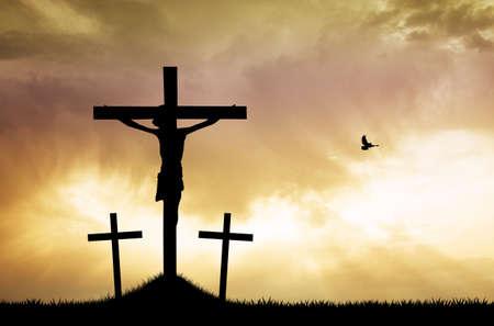 believer: three cross at sunset