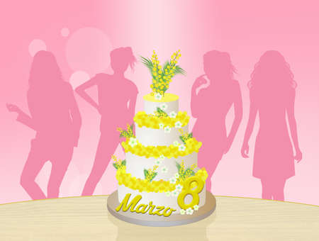 party pastries: women celebrate Womens day Stock Photo
