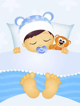 schlafendes Kind mit Teddybären