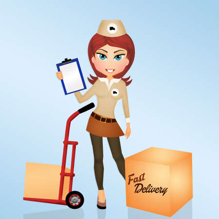 fast delivery: illustration of girl makes fast delivery