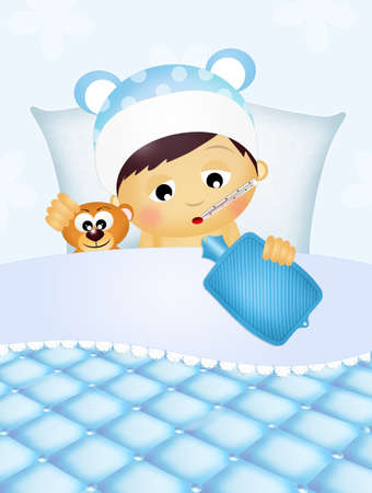 baby sick: baby sick in the bed Stock Photo
