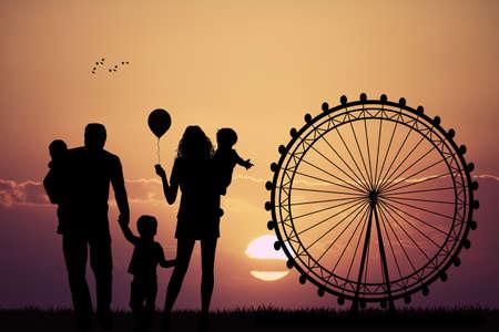 family park: Family in amusement park Stock Photo
