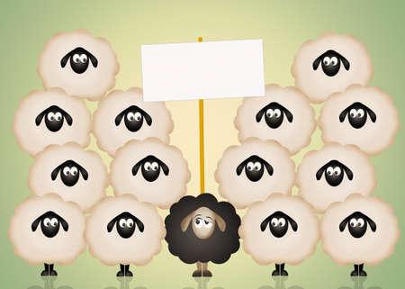 oveja negra: ovejas negro divertido