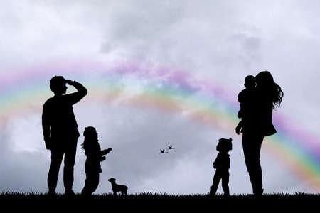 rainbow sky: family watches the rainbow in the sky