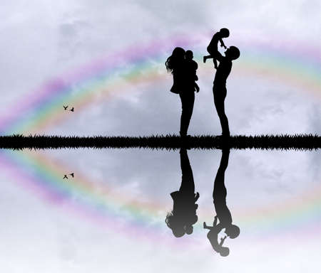 man looking at sky: family in the rainbow Stock Photo