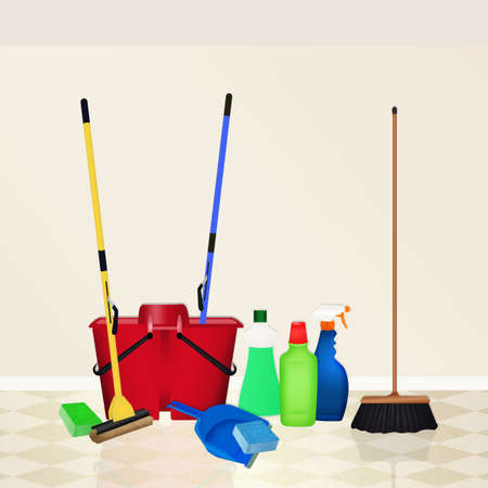 mop floor: cleaning products Stock Photo