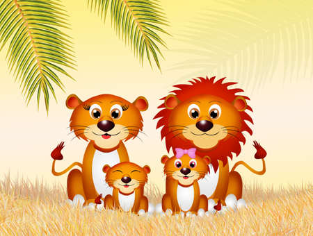 family of lions in the savannah
