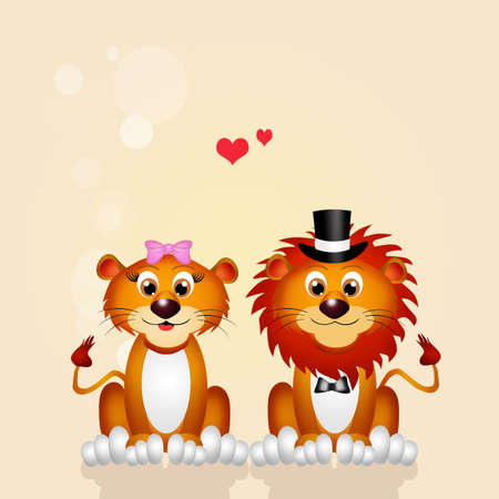 spouses: Marriage of lion and lioness Stock Photo