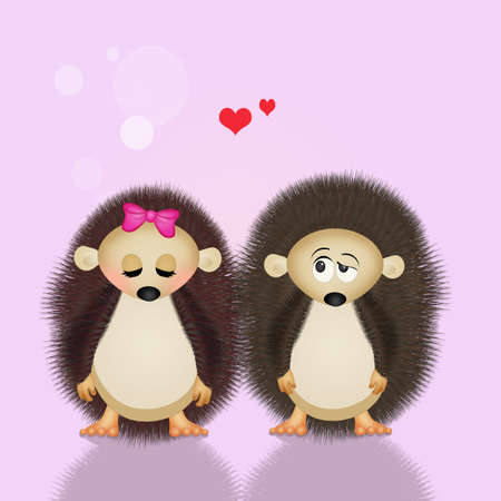 spouses: illustration of hedgehogs in love