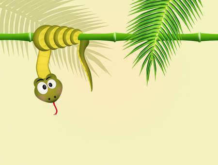 snake on bamboo