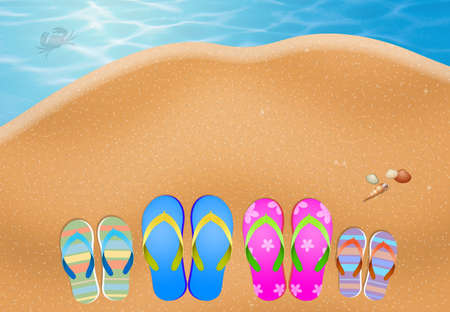 slipper: slipper for family on sand