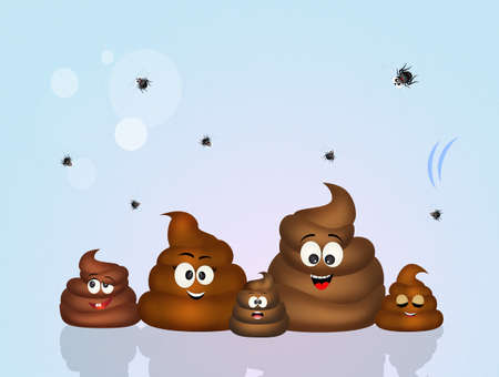 disgusting: family of poop Stock Photo