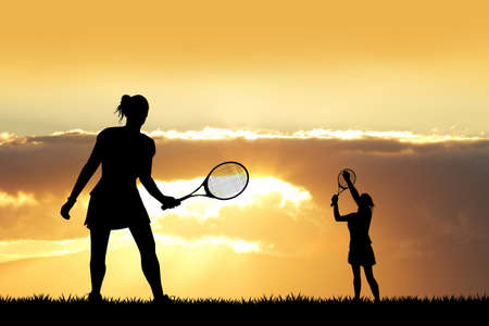 tourney: girl playing tennis at sunset Stock Photo