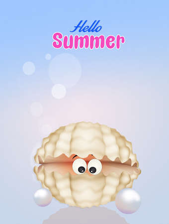 oyster shell: oyster in the shell in summer Stock Photo