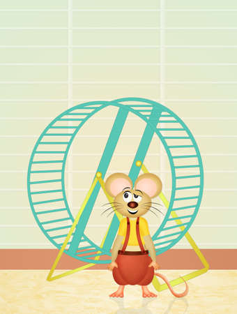 animal den: hamster in the cage Stock Photo