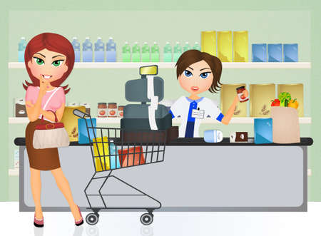 lady shopping: lady shopping at a grocery