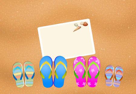 flip flops: flip flops for family on the beach Stock Photo