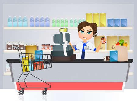 cashier: illustration of supermarket cashier Stock Photo