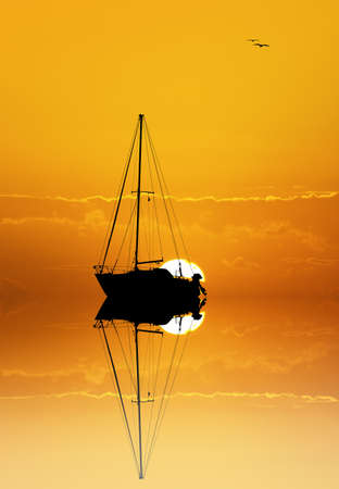 cruising: boat in the sea at sunset