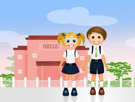 middle school: school children in uniform