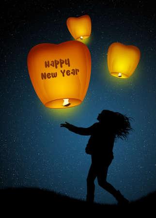 sky lantern: flying lanterns for New Year