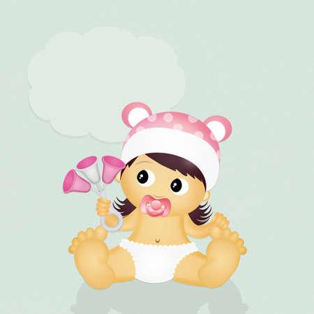 sonaja: beb� con traqueteo Foto de archivo