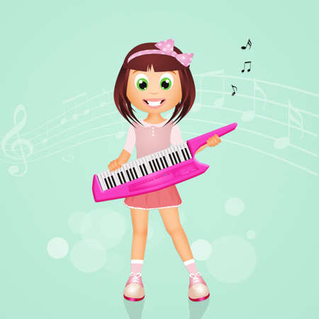 plays: girl plays the electric keyboard
