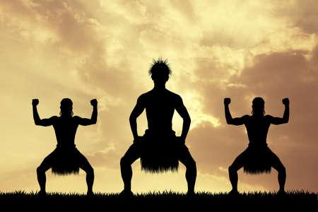 Maori dance at sunset