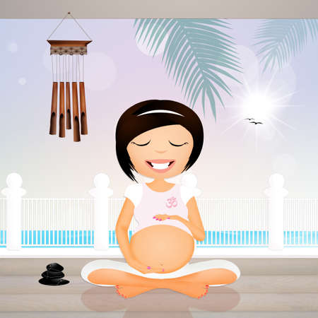 pregnancy exercise: Pregnant woman doing yoga at the beach house Stock Photo