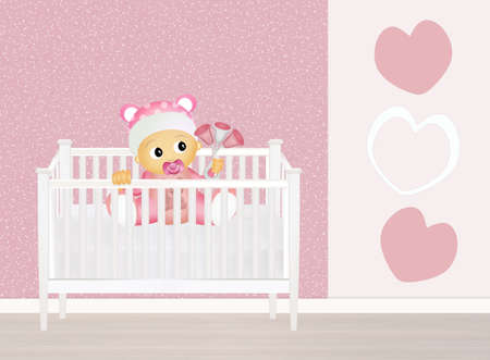 cute baby girls: baby in cot