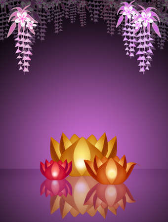 floats: Lotus candles in the water