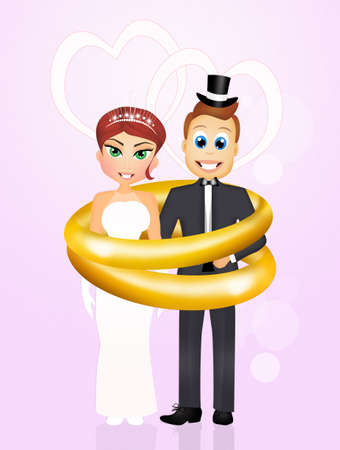 spouses: wedding rings for bride and groom Stock Photo