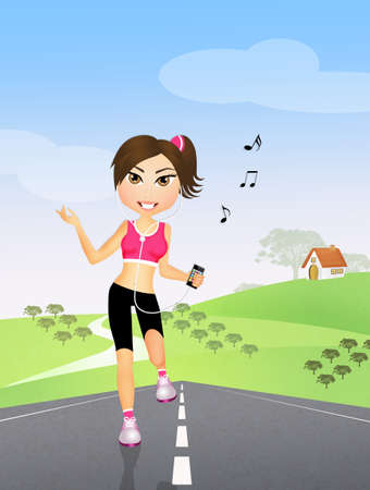 runs: woman runs with headphones for music Stock Photo