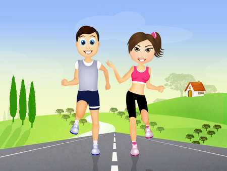 runs: couple runs with headphones for music on countryside