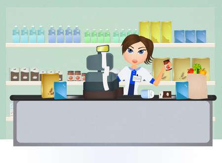 cashier: supermarket cashier