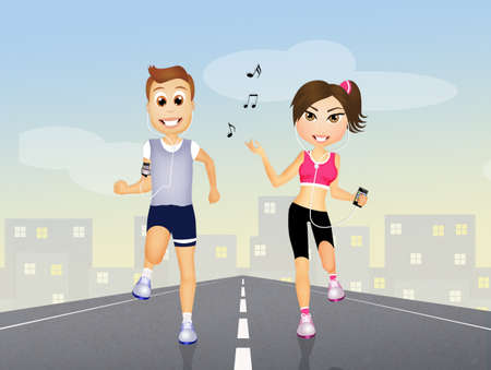 runs: couple runs with headphones for music Stock Photo