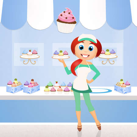 girl selling cupcakes Stock Photo