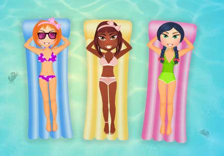 sunbathing: girls sunbathing on inflatable mattress Stock Photo