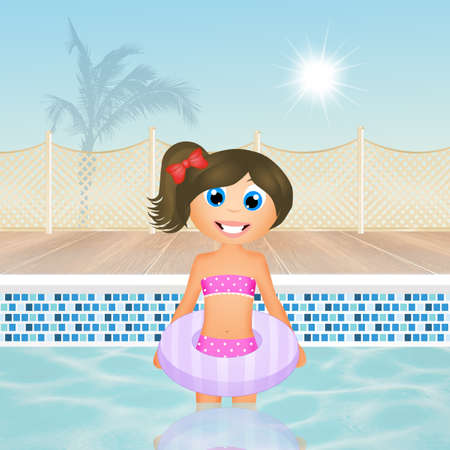 swimming costumes: girl in the pool Stock Photo