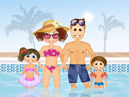 armrests: family in swimming pool
