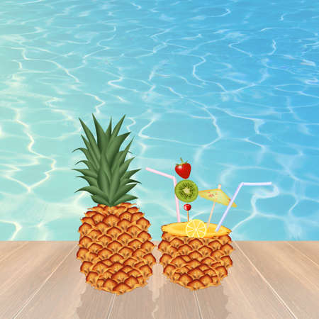 ananas: cocktail in the ananas Stock Photo