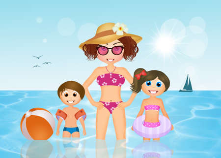 armrests: mom playing in the sea with the kids Stock Photo