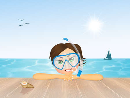 jetty: girl with scuba mask for diving