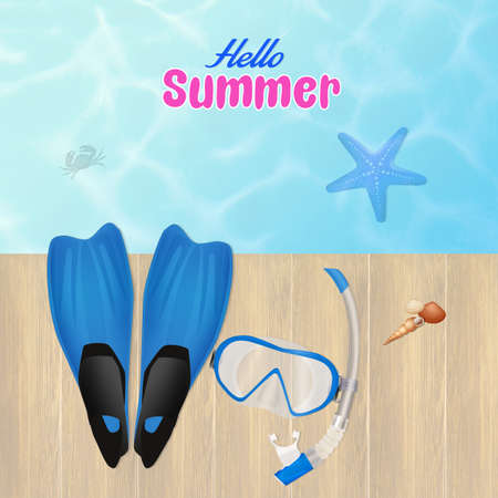 flippers: immersion in summer Stock Photo