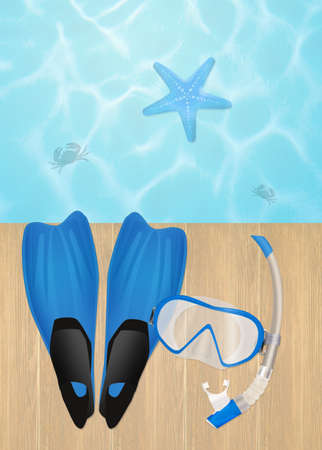 flippers: flippers and mask for diving Foto de archivo